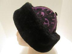 Vintage Black Faux  Embroidery  Purple Wool Hat.
