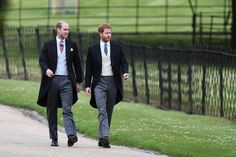 Prince William and Prince Harry outside the church.