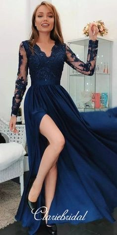 Cheap Fancy Evening Dresses With Sleeves Modern Long Sleeve Lace Appliques Evening Dress Evening Dresses Uk, Sexy Evening Dress, Evening Dresses With Sleeves, V Neck Prom Dresses, Cheap Prom Dresses, Party Dresses, Dress Prom, Maxi Dresses, Prom Dreses