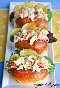 Lobster Roll Recipe: Fresh Maine Lobster Roll : Ingredients: 1 Pound Lobster (steamed and cleaned)- 1 Tablespoon Salt- 3 Tablespoons Modern Green Goddess Dressing- Top Split Buns- Butter- Potato Chips- Mixed Baby Green Lettuce- Lobster Recipes, Fish Recipes, Seafood Recipes, Great Recipes, Cooking Recipes, Favorite Recipes, Lobster Food, Lobster Dishes, Lobster Salad