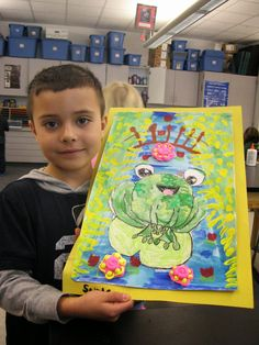 "Jamestown Elementary Art Blog: 2/26/14. ""1st Grade Claude MOnet Frogs in Ponds."" Cutest lesson ever! Drawing, painting, cutting, gluing -this project has it all! From Phillipe in Monet's Garden. (I have this book and can attest to how clever it is - great illustrations. Fun rhyming - kids love it!)"