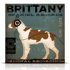 Brittany Spaniel Records original graphic by geministudio on Etsy, $79.00
