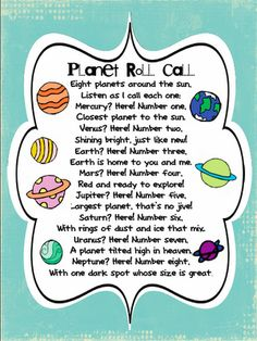 Planet Roll Call poem- so cute!