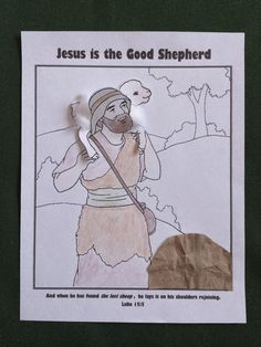 Interactive coloring page / craft for the parables of the lost sheep and Jesus the good shepherd.  Children can retell the story as they move the sheep from the rock to the shepherd's shoulders.
