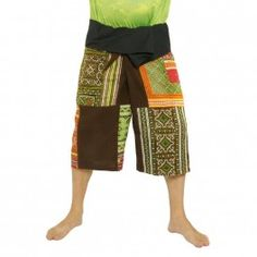Pescador tailandés Patchwork pantalón corto de color marrón