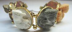 "Victorian Lava High Relief Cameo Bracelet 71/4"" 66.8 grams Vintage Estate RARE #Handmade #Bracelet"
