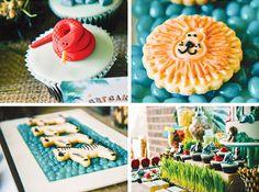cupcake avec un serpent rouge en sucre et biscuit en forme de lion
