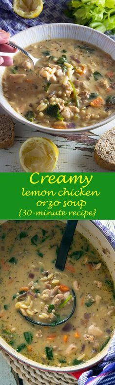Creamy lemon chicken orzo soup (ready in just 30 minutes!)