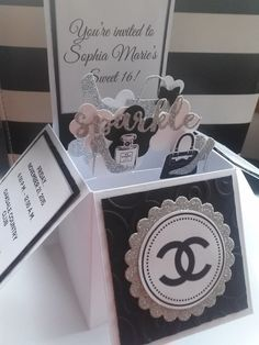 10 3D Card in a Box Chanel Designer Sweet 16 Quinceañera Birthday Party Invitations Any Color by InvitationsbyArisbet on Etsy