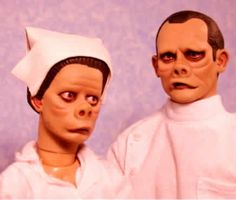 """Alien hospital nurse and surgeon from an episode of The Twilight Zone, known as """"The Eye of the Beholder"""".  I believe Captain Picard and crew find this same planet and have to bring one of their leaders into the 24th century"""
