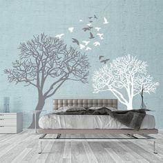 """Adesivo murale Wall Art """"Alberi con stormo"""" - Misure 194x150 cm - Decorazione parete, adesivi per muro, carta da parati"""