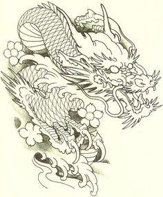 Dragon Tattoo Drawing, Dragon Head Tattoo, Dragon Sleeve Tattoos, Dragon Tattoo Designs, Dragon Tattoo Stencil, Japanese Tattoo Art, Japanese Tattoo Designs, Koi Dragon, Dragon Art