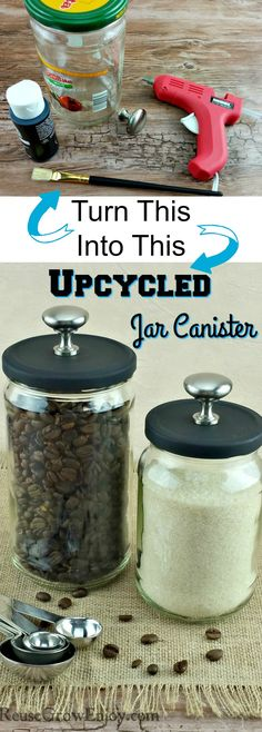 So easy to make this Upcycled Jar Canister and it looks awes.- So easy to make this Upcycled Jar Canister and it looks awesome! So easy to make this Upcycled Jar Canister and it looks awesome! Home Crafts, Fun Crafts, Diy Home Decor, Diy And Crafts, Bottles And Jars, Glass Jars, Mason Jar Crafts, Mason Jars, Candle Jars