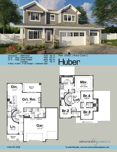 29392 Huber Classic Craftsman styling and thoughtful room arrangements make this 2,674 2-story, 4-bedroom house plan smart choice for growing families. Taper