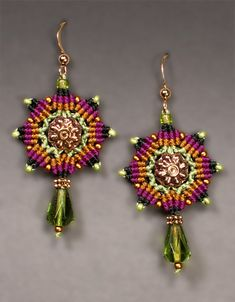 Micro-Macrame Jewelry kit  Star Mandala Earrings  $30 comes in:  olive/gold/purplr, teal, jonquil skill level:  inter.