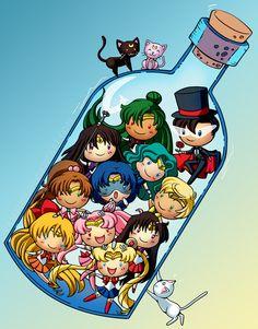 Sailor Moon& characters in a bottle Sailor Moom, Arte Sailor Moon, Sailor Neptune, Sailor Jupiter, Sailor Venus, Sailor Pluto, Sailor Mercury, Sailor Saturno, Manga Anime