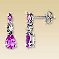 Diamond & Pink Sapphire Earrings