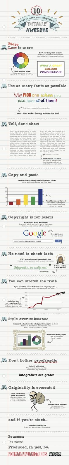 Hilarious. 10 ways to make your infographic totally awesome. (students this is a joke)