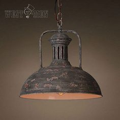 Industrial Rustic Iron Pendant Light Hanging Lamp Art Deco Antique Kitchen Dome