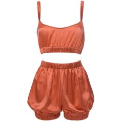 Roses Are Red - Sundays Are For Ever Silk Sleepwear Set Coral (€345) ❤ liked on Polyvore featuring intimates, sleepwear, pajamas, shorts, tops, dresses, red pjs, sexy pjs, silk pyjamas and red pajamas