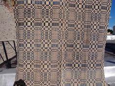 "Antique 1800's Coverlet Bedspread Réversible Indigo Blue 67"" x 84"" | eBay"