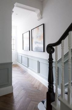White Stairs Grey Walls Staircases 24 New Ideas White Hallway, Hallway Ideas Entrance Narrow, White Stairs, Modern Hallway, Narrow Hallways, Entrance Ideas, West London, Dark Wood Bedroom, Painting Wood Paneling