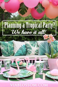 Tropical Flamingo Party Via Blossom Tropical Party Ideas That are beyond gorgeous! You will love our Tropical Party Decorations that are ideal for a Luau, a Flamingo Party, a Pool Party or any Summer Party! Flamingo Party, Flamingo Birthday, 21st Birthday, Aloha Party, Tropical Party Decorations, Birthday Party Decorations, Tropical Decor, Balloon Decorations, Sommer Pool Party
