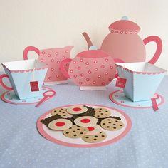 Printable Paper Tea Set by neskita on Etsy, $7.00