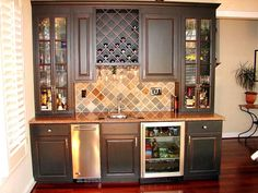 Custom bar, wine racks and back table