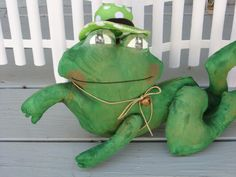 Primitive Frog Doll,  Green Frog, Stuffed Frog, Shelf Sitter by UnCommonFavor on Etsy