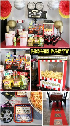 Movie Night Party - movie party concession stand ideas, movie party decorations and more!
