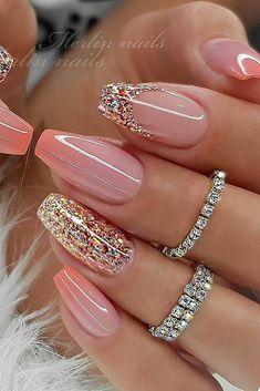 Cute Acrylic Nail Designs, Classy Nail Designs, Best Acrylic Nails, Nail Art Designs, Glitter Nail Designs, Acrylic Set, French Manicure Designs, Summer Acrylic Nails, Short Nail Designs