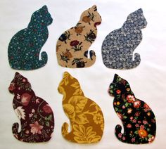 Set of 6 Lg  Kitty Cat Iron-on Cotton Fabric Appliques for Quilts & Apparel Etc #Unbranded