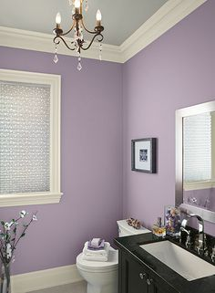 A Glamorous Purple Bathroom With A Feminine Touch Bm Paints Walls Central Mauve  Ceiling Stonington Gray Trim Ivory Tusk Must Have Some Type Of