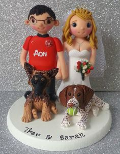 Wedding cake topper with pets/dogs by Tinylove Toppers  http://www.tinylove-wedding-cake-toppers.co.uk/