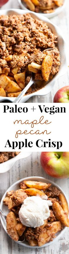 A healthy version of a classic fall dessert this Paleo Maple Pecan Apple Crisp is the perfect warm and sweet comfort food on cozy nights. It's grain free gluten free paleo vegan and soy free with simple whole ingredients and the fall flavors you crave. Paleo Sweets, Paleo Dessert, Gluten Free Desserts, Healthy Desserts, Apple Recipes, Fall Recipes, Whole Food Recipes, Paleo Running Momma, Biscuits