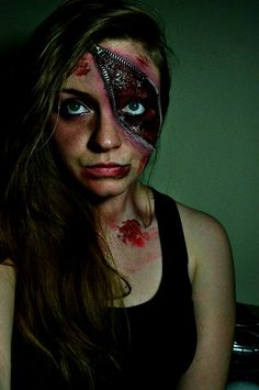 just a different take on the zipper face concept - Scary Faces For Halloween With Makeup