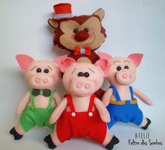 Três Porquinhos e Lobo mau por Atelie Feltro dos Sonhos www.feltrodosonhos.com.br