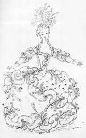 Marie Antoinette in a theatrical costume. Boquet, National Bibliotheque, Paris, drawing.
