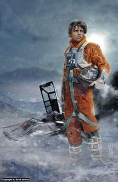 Star Wars Luke Skywalker on Hoth Original Art Print by Scott Harben Star Wars Film, Star Wars Jedi, Star Wars Poster, Star Wars Concept Art, Star Wars Fan Art, Star Wars Pictures, Star Wars Images, Mark Hamill, Starwars
