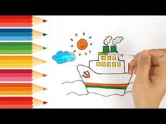 How to drawing and coloring boat Smart kids Tv Kids Tv, Coloring For Kids, Playing Cards, Boat, Drawings, Colors, Dinghy, Boats, Sketches