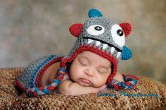 Crochet+Newborn+Diaper+Hat | Crochet baby hat and diaper cover-Monster hat-photo set-photography ...