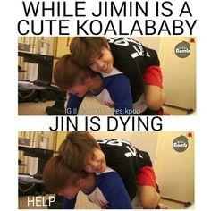 Jimin staph please. !! D: #BTS #Jin #Jimin