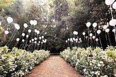 balloon aisle wedding