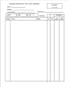 This file contains: -- A running record form (2 pages, to be ...