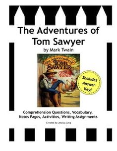 **Updated With Answer Key!** This packet is a study guide for Mark Twain's The Adventures of Tom Sawyer (unabridged version). You will find a variety of assignments for your students, including:*Pre-reading Internet Scavenger Hunt--to be used as an anticipatory set*Chapter Notes Reading Guide--This is a 1-page template for students to fill out to take notes on/summarize the chapters.
