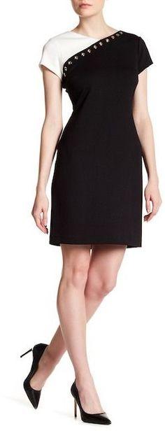 Ellen Tracy Ponte Grommet Colorblock Dress
