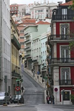 Picture of Portugal: Steep street in Lisbon Sintra Portugal, Lisbon Accommodation, Portuguese Culture, Portugal Travel, Most Beautiful Cities, Beautiful Architecture, City Streets, Spain, Places To Visit