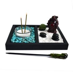 Mini Zen Garden // Laughing Buddha Statue // Incense by NeonFoxArt