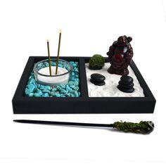 Mini Zen Garden // Laughing Buddha Statue // Incense Burner // Desk Accessory // Turquoise // DIY Kit // Meditation / Tealight Candle Holder